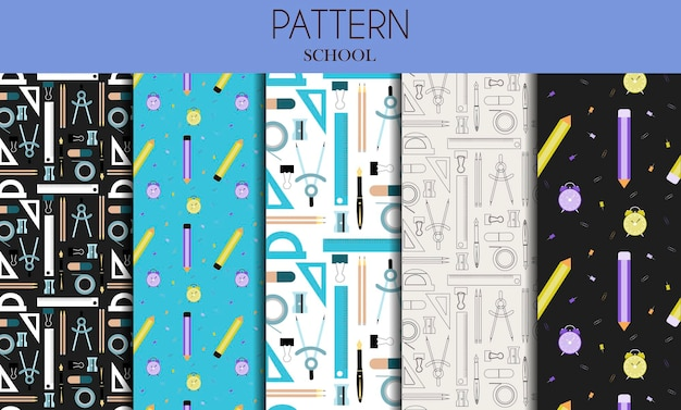 A set of seamless patterns with school stationery items flat vector design for school office store