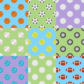 Set of seamless patterns with sports balls.