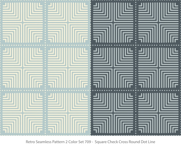 Set of seamless patterns with square round dot