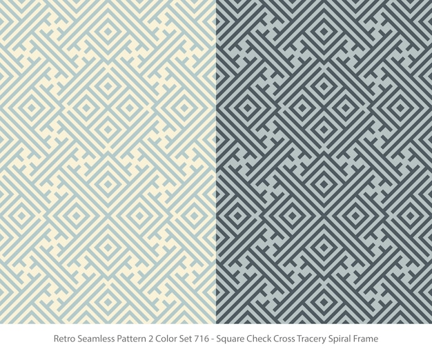 Set of seamless patterns with square tracery frame