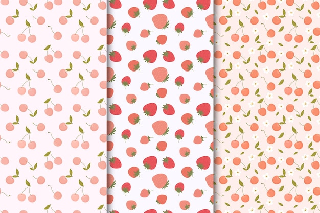 Set of seamless patterns with summer fruits