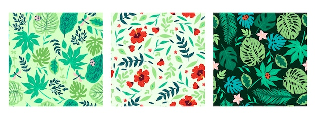 Set of seamless patterns with tropical leaves and flowers.