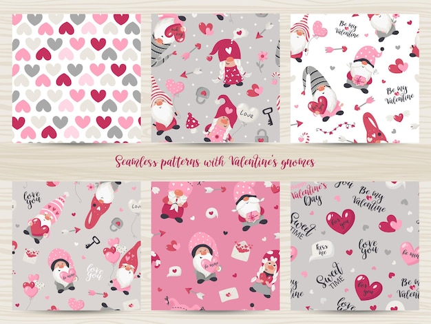 Set of seamless patterns with valentine's day gnomes illustration