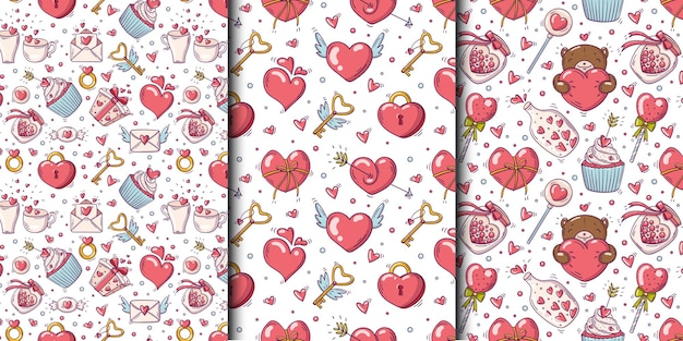Set of seamless patterns with valentines day and love objects in doodle style