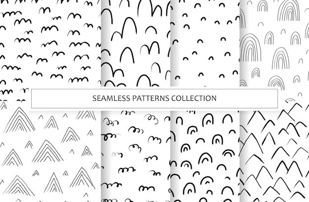 Set seamless patterns with variety abstract shapes, mountain, rainbow. backgrounds with natural textures in hand drawn style. illustrations drawn with ink and marker in scandinavian style. vector