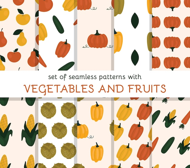 Set of seamless patterns with vegetables and fruits