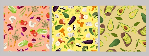 Set of seamless patterns with vegetables