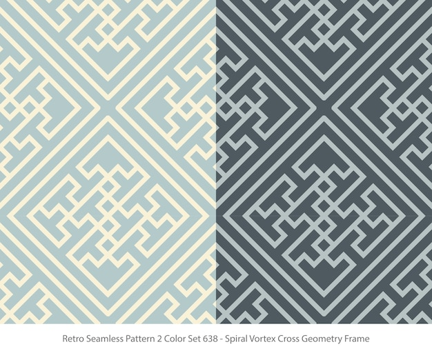Set of seamless patterns with vortex geometry frame