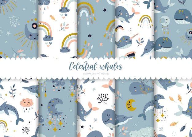 Set of seamless patterns with whales and rainbows illustration