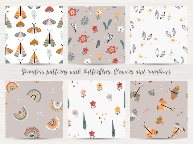 Set of seamless patterns with with flowers, rainbows and butterflies.