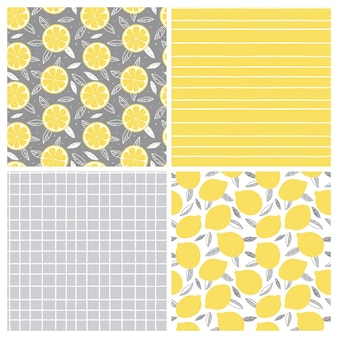 Set of seamless patterns in yellow and gray