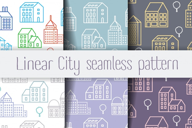 Set seamless repeating linear pattern of urban buildings and structures