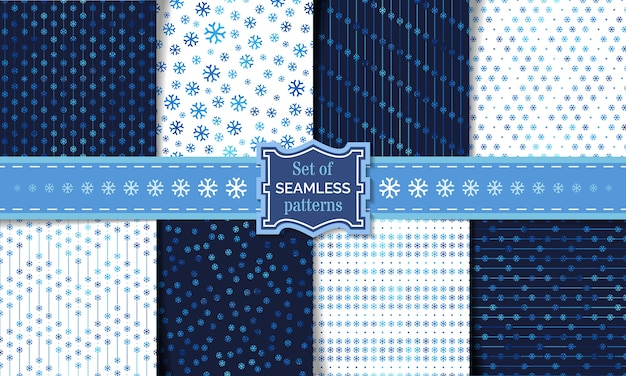 Set of seamless snowflake patterns. light and dark winter templates.  boundless backgrounds.