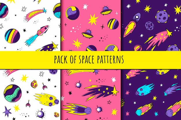 Set of seamless space patterns