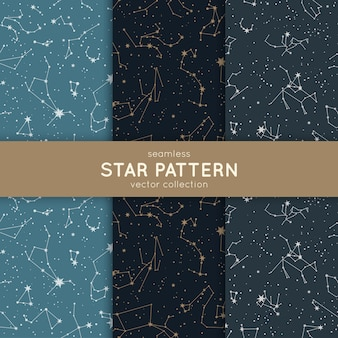 Set of seamless star pattern.