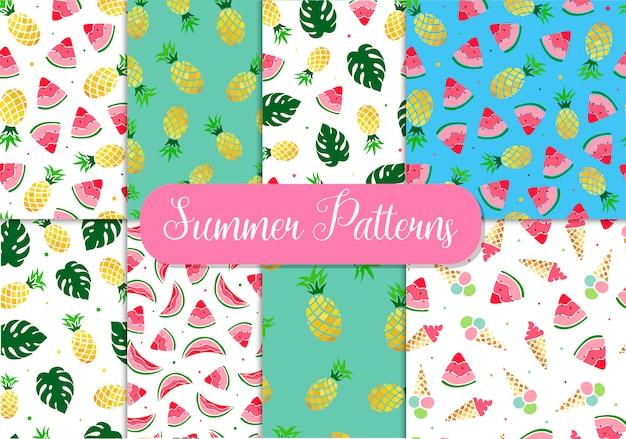Set of seamless summer patterns