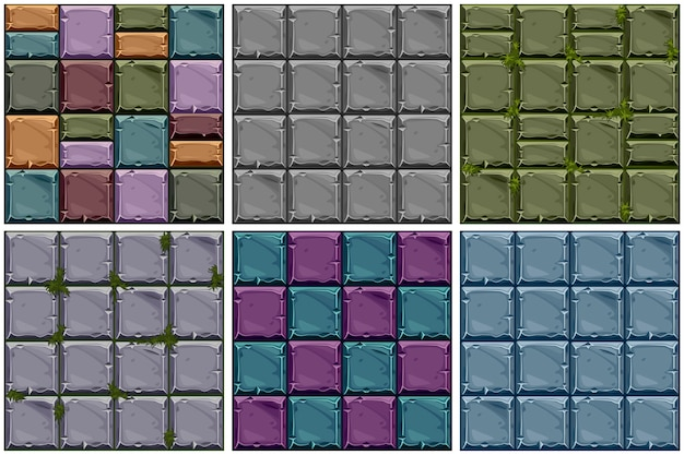 Set seamless texture of colored stone, background stone wall tiles.