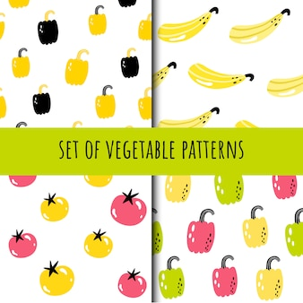 Set of seamless vegetable patterns