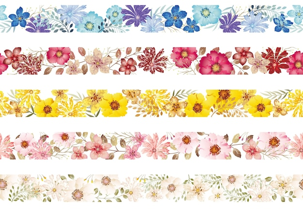 Set of seamless watercolor floral borders isolated on a white background. horizontally repeatable.
