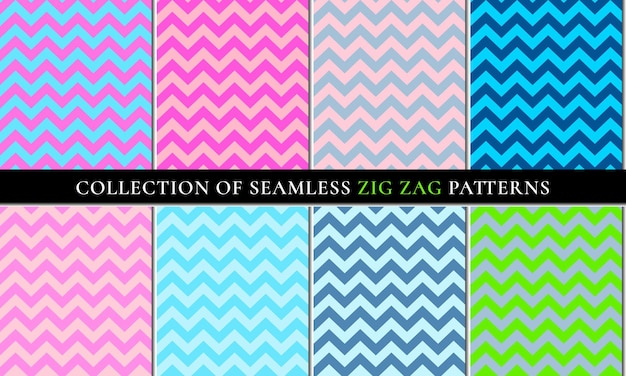 Set of seamless zigzag chevron pattern background