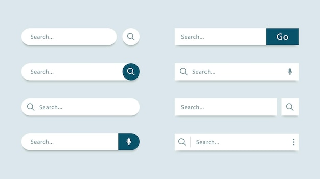 Set of search bar template search forms for websites