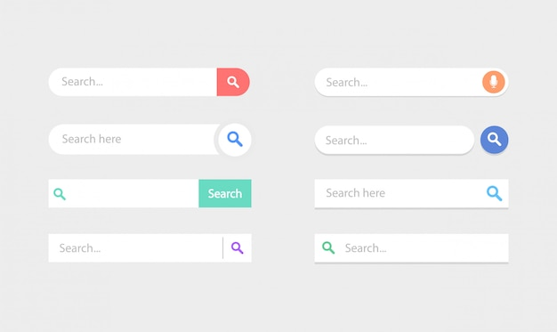 Set of search boxes ui template. search bar element.