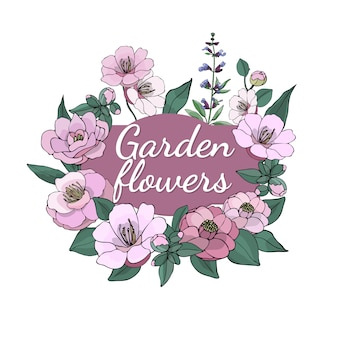 Set of seasonal beautiful garden flowers.