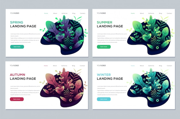 Set of seasonal landing page