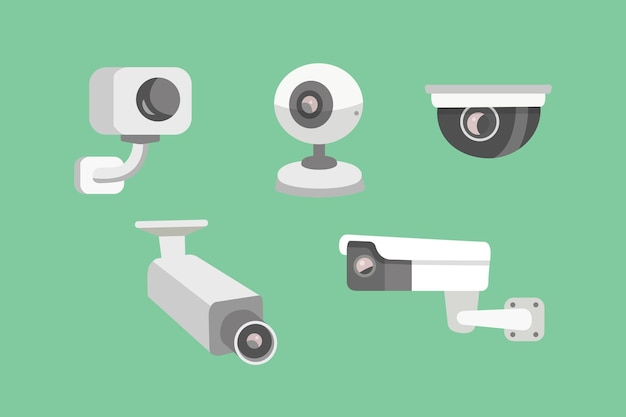 보안 카메라를 설정하십시오. cctv 만화 그림. 안전과 감시.