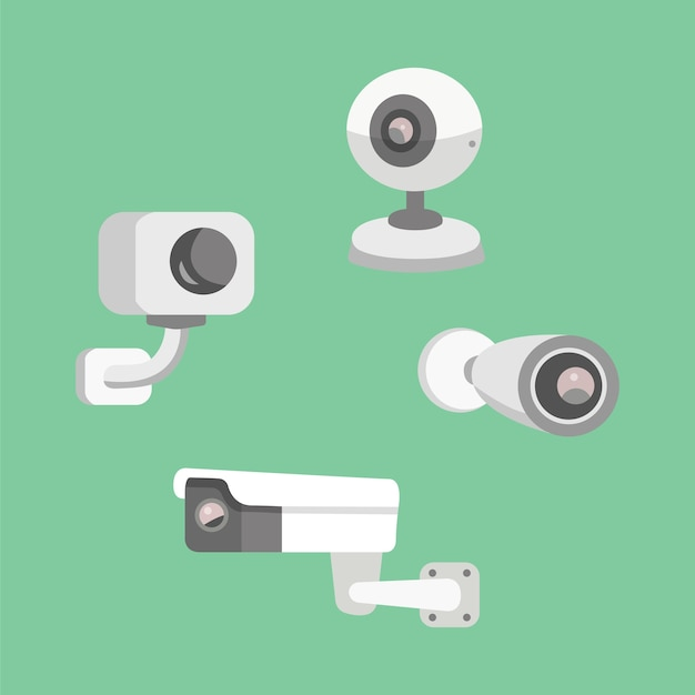 Set security camera. cctv cartoon illustration. safety and watching.