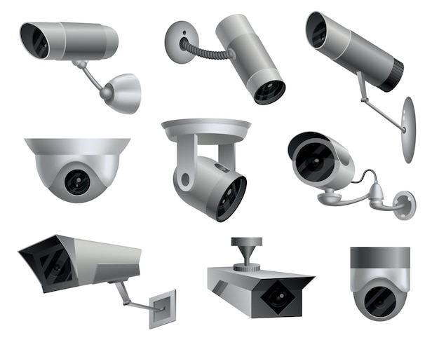 Set of security cameras. decorative surveillance cameras. safety home protection system. illustration of vector cctv and camera signs.