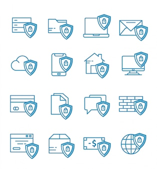 Set of security icons with outline style