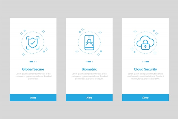 Set of security onboarding app screens ui. concept and simplified illustration walkthrough screens template for mobile apps.