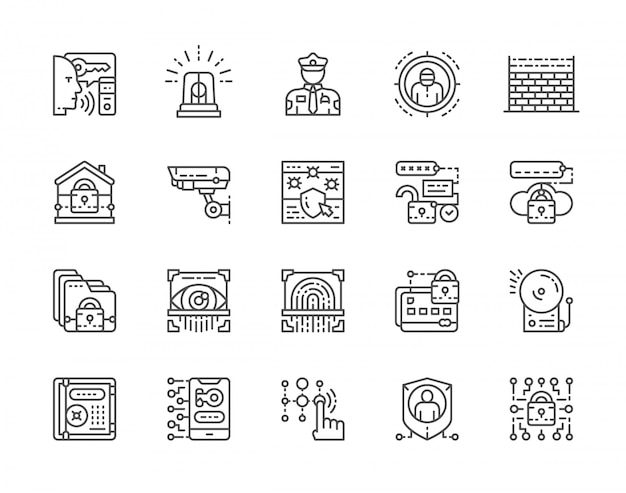 Set of security services icons