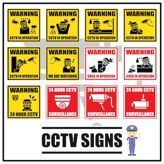 Set of security signs and symbols of cctv