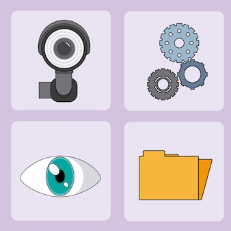Set of security system square icons vector illustration graphic design