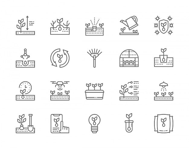 Set of seedling line icons.