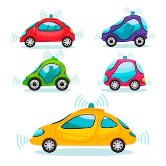 Set of self driving cars in cartoon style