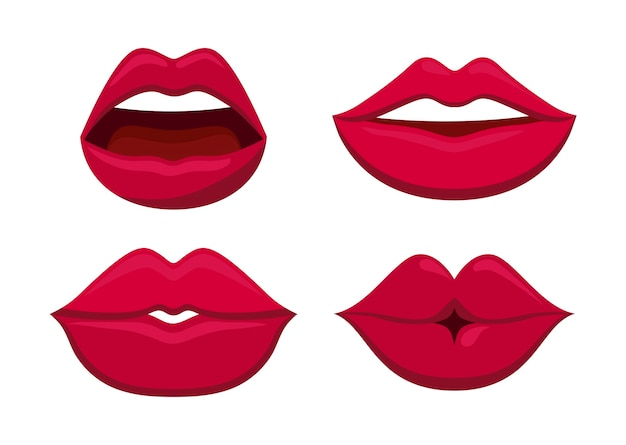 Set of sensuality female lips icon