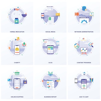 Set of seo flat illustrations