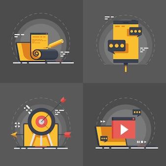 Set of seo optimisation, web design, apps development and digital marketing.