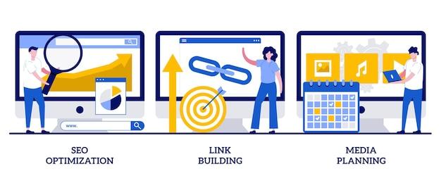 Set of seo optimization, link building, media planning, internet business development
