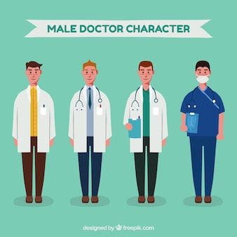 Set of serious male doctors