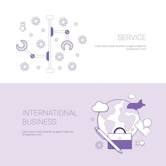 Set of service and international business banners concept template background with copy space