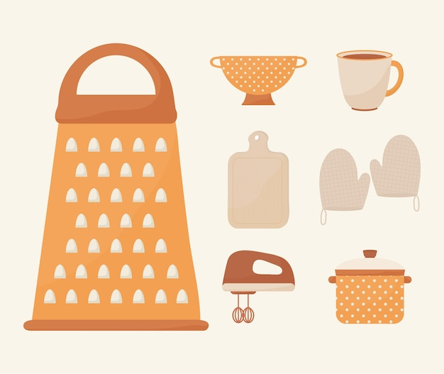 Set of seven cooking icons