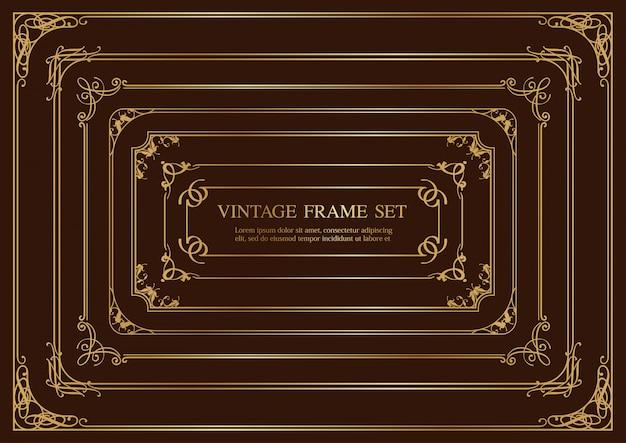 Set of seven gold rectangular vintage frames isolated on a dark background.  illustration. Premium Vector