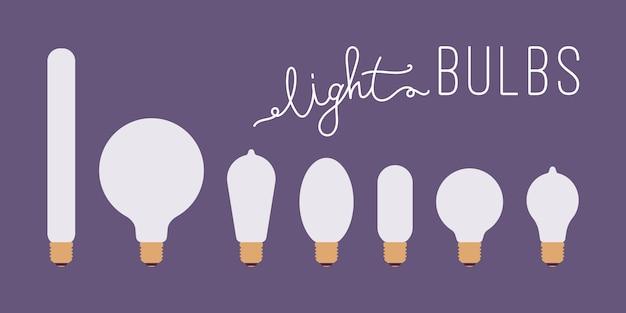 Set of seven retro lit light bulbs against purple background