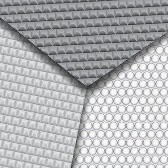 Set of several seamless carbon fiber patterns in black and gray colors