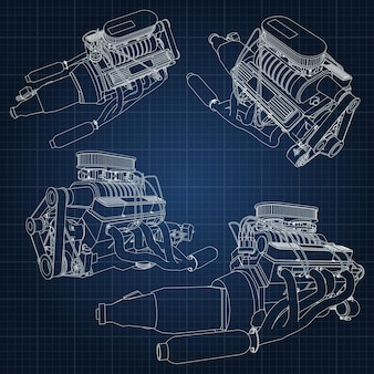 A set of several types of powerful car engine. the engine is drawn with white lines on a dark blue sheet in a cage.