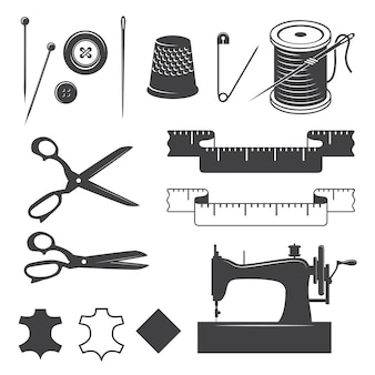 Set of sewing desinged elements monochrome style